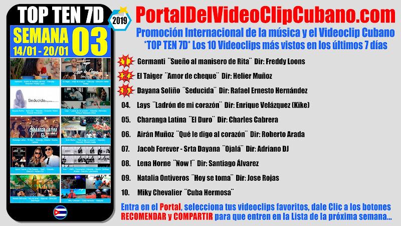 Artistas ganadores del * TOP TEN 7D * con los 10 Videoclips más vistos en la semana 03 (14/01 a 20/01 de 2019) en el Portal Del Vídeo Clip Cubano