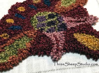 Punch Needle Design in rich Valdani colors by Rose Clay at ThreeSheepStudio.com