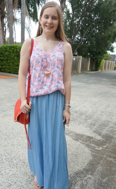 summer chambray maxi skirt outfit with Jeanswest Elissa left print tank red saddle bag | awayfromblue