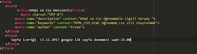 google ilk sayfa meta description kullanma örneği html  kodu