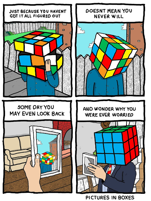 picture in boxes, rubik square, self-doubt, failure, comic strips