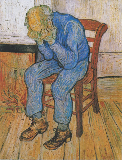 """Sorrowing old man"" (1890). Pintura de Vincent van Gogh (1853-1890) exposta no Kröller-Müller Museum em Otterlo, nos Países Baixos."