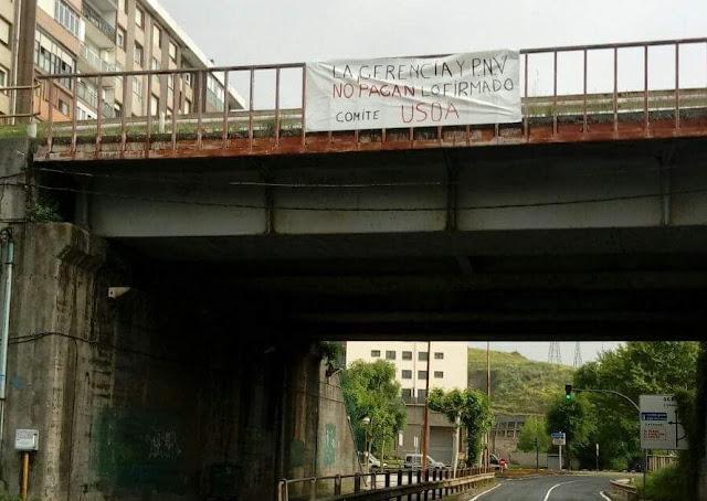 pancarta trabajadores Usoa