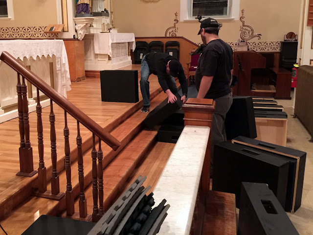 Darren and our director, Pete set up our risers