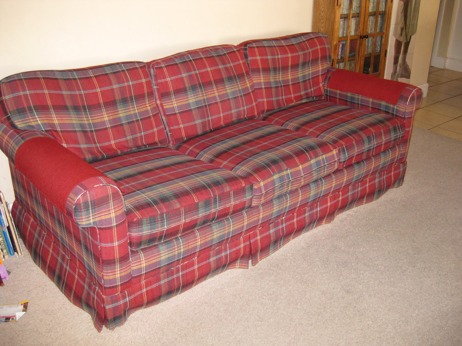 Old plaid couch Slipcovers by Shelley