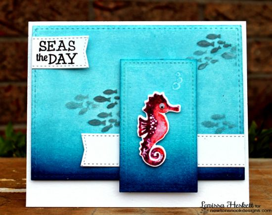 Seahorse Card by Larissa Heskett | Tranquil Tides Stamp set by Newton's Nook Designs #newtonsnook #seahorse