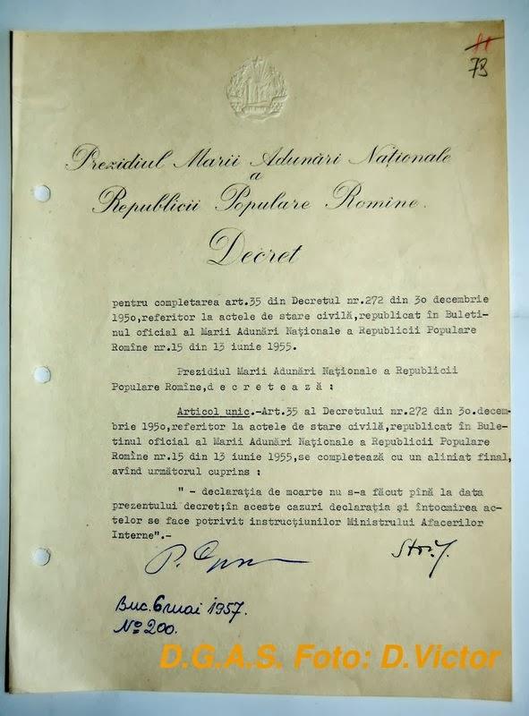 Despre muşamalizarea crimelor comuniste: Decretul 200/1957
