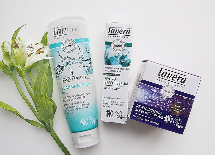 Laveran Hydro Effect Serum, Basis Sensitiv puhdistusmaito ja Re-energizing Sleeping Cream