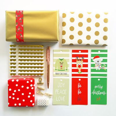 Christmas Gift Tags with beautiful gold and red gift wrapping by Mum and Me Handmade Designs