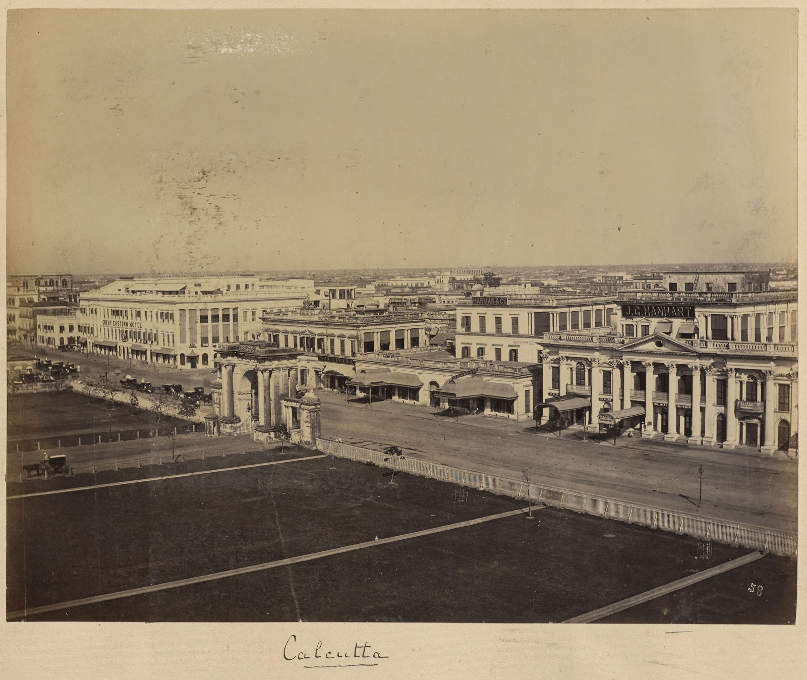 View of Arched Gateways to the Raj Bhavan (Government House) and Great Eastern Hotel - Calcutta (Kolkata) c.1881