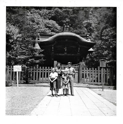 "Tanya Sarsfield, Natalie Vasilev, Lena Vasilev, and ""Mr. Grey"" in Kamakura, Japan in the early 1950's."