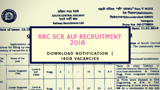 RRC SCR ALP Recruitment 2018 | Download Notification  | 1408 Vacancies