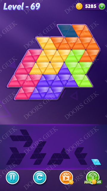 Block! Triangle Puzzle Intermediate Level 69 Solution, Cheats, Walkthrough for Android, iPhone, iPad and iPod