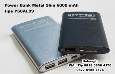 Powerbank Metal Slim 6000mAh P60AL09, Powerbank Metal Slim P60AL09, Power Bank P60AL09, Power Bank 6000 mAh,  Powerbank premium, Distributor Grosir Power Bank Tangerang