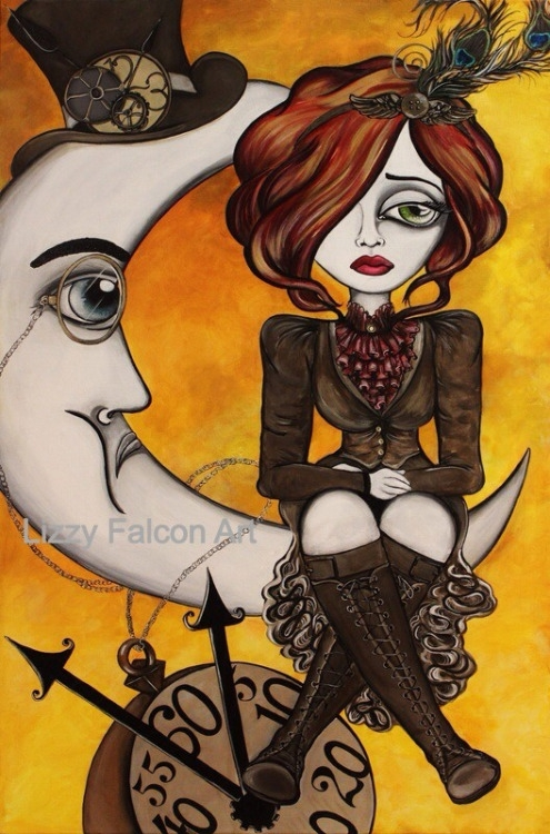 02-The-Fallacy-of-Forever-Steampunk-Lizzy-Falcon-Paintings-with-Large-Eyes-and-Big-Personalities-www-designstack-co
