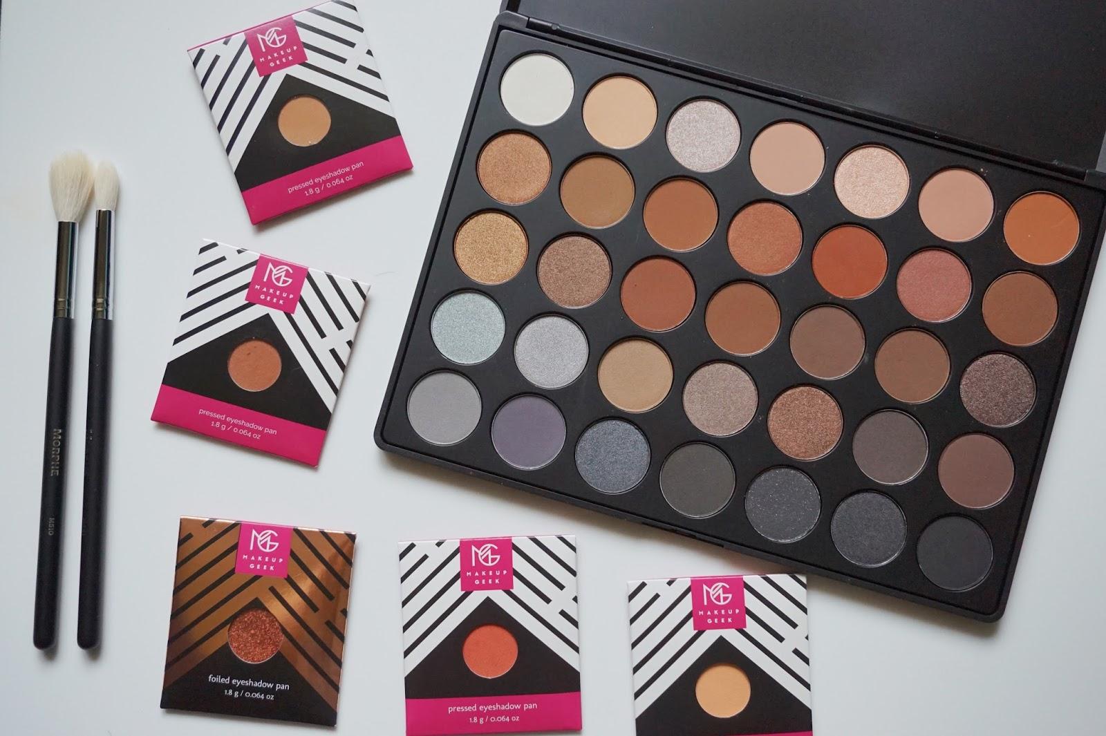 Morphe 35K palette, Makeup Geek Eyeshadows