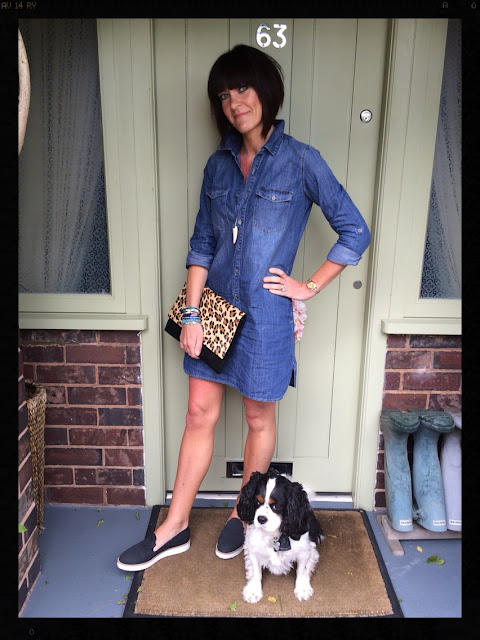 My Midlife Fashion, Denim Dress, Shirt Dress, Leopard Print, Animal Print, Hipanema, Tusk Necklace, ASOS, Seven Boot Lane, Zara,