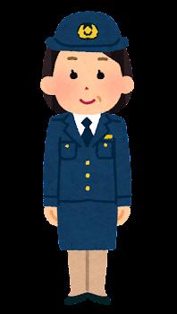 警察官のイラスト(女性・スカート・中年)
