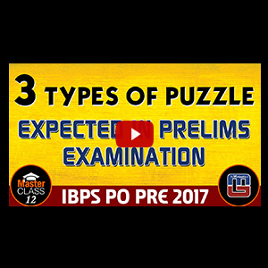 Master Class | 3 Types Of Puzzle Expected In Prelims | Reasoning | Class 12 | IBPS PO 2017