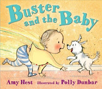 Cover of Buster and the Baby with baby running up to excited little dog
