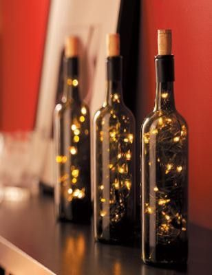 Decoracion DIY Navidad: Botellas luces
