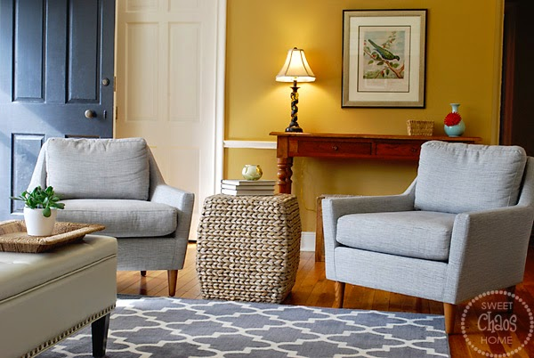 West Elm Everett Chair Behind The App Sweet Chaos Home Client Project Living Room Reveal One Big Purchase For Were Chairs I Love Midcentury Lines Of And They Have A Subtle Cross Weave Pattern