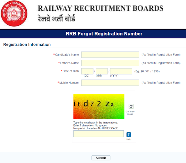RRB Forgot Registration Number, Recover RRB NTPC Registration Number