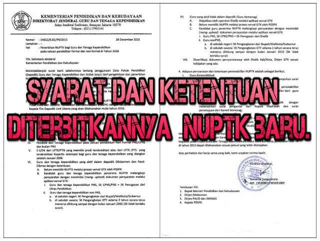Syarat dan Ketentuan diterbitkannya  NUPTK baru.
