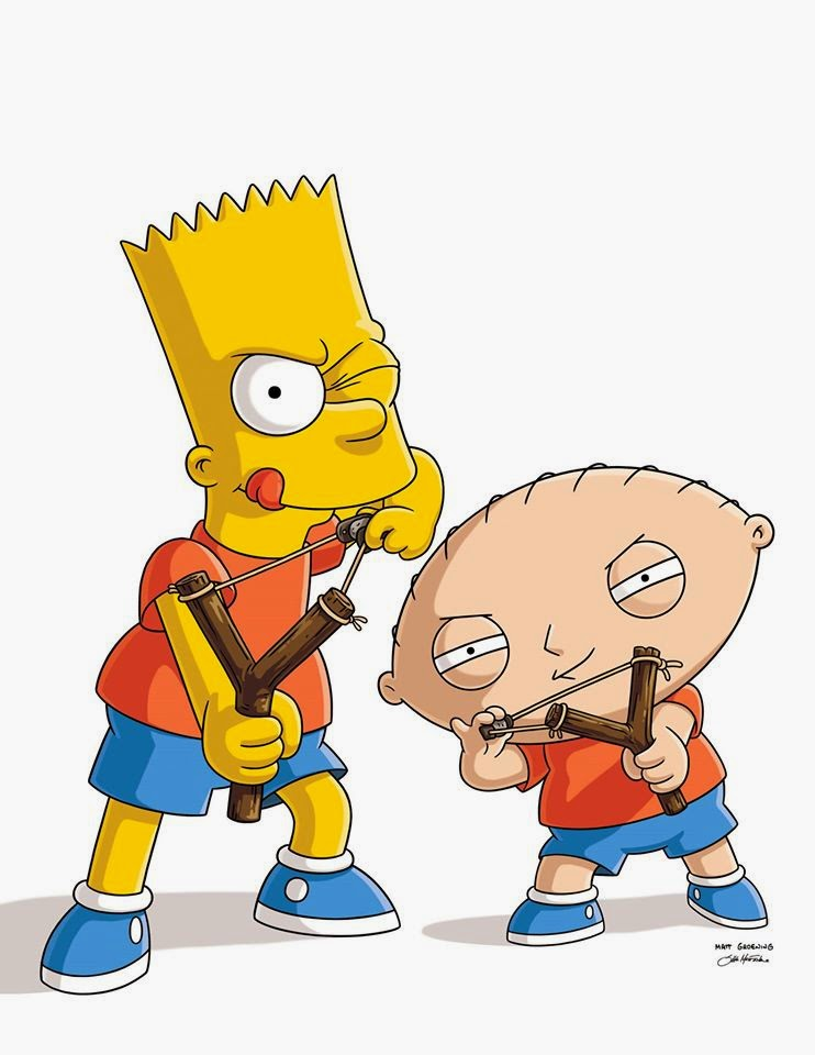 Bart Simpson and Stewie Griffin with Bart's favorite slingshot in The Simpsons Family Guy crossover episode