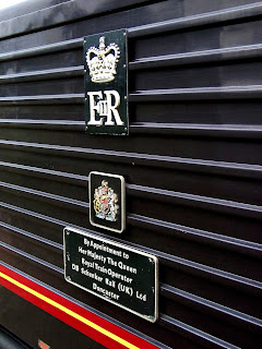 By Appointment to Her Majesty The Queen Plaque on the side of Class 67 locomotive 'Royal Sovereign'