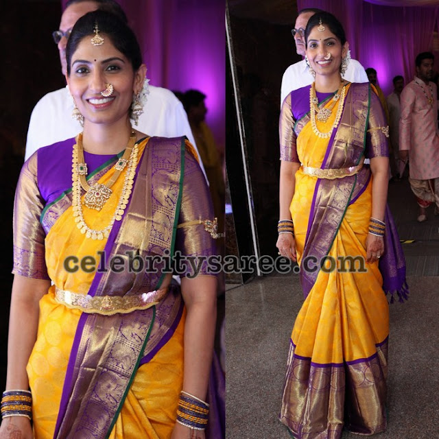 Yellow Purple Trendy Silk Saree