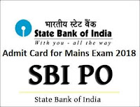 sbi po mains exam admit card 2018