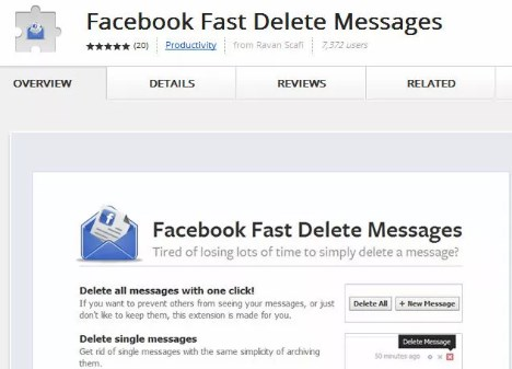 Quickly delete multiple facebook messages in chrome