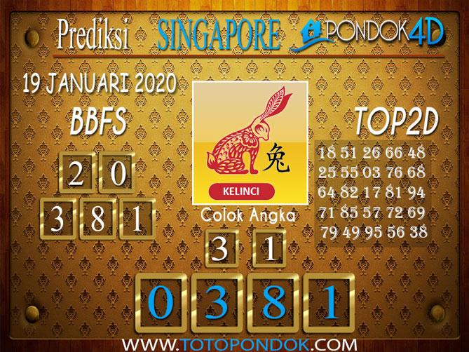 Prediksi Togel SINGAPORE PONDOK4D 19 JANUARI 2020
