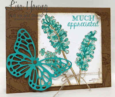 Stampin' Up! Helping Me Grow stamp set with die cut butterfly. Handmade thank you card by Lisa Young, Add Ink and Stamp