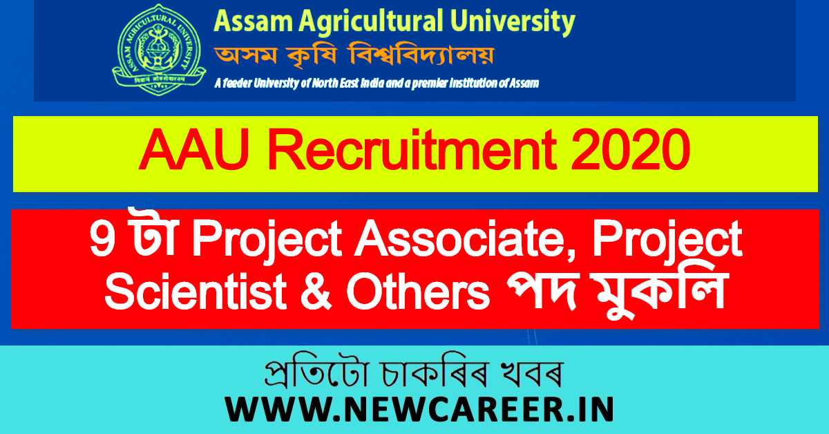 AAU Recruitment 2020: Apply for 9 Project Associate, Project Scientist & Asst. Project Scientist Vacancy