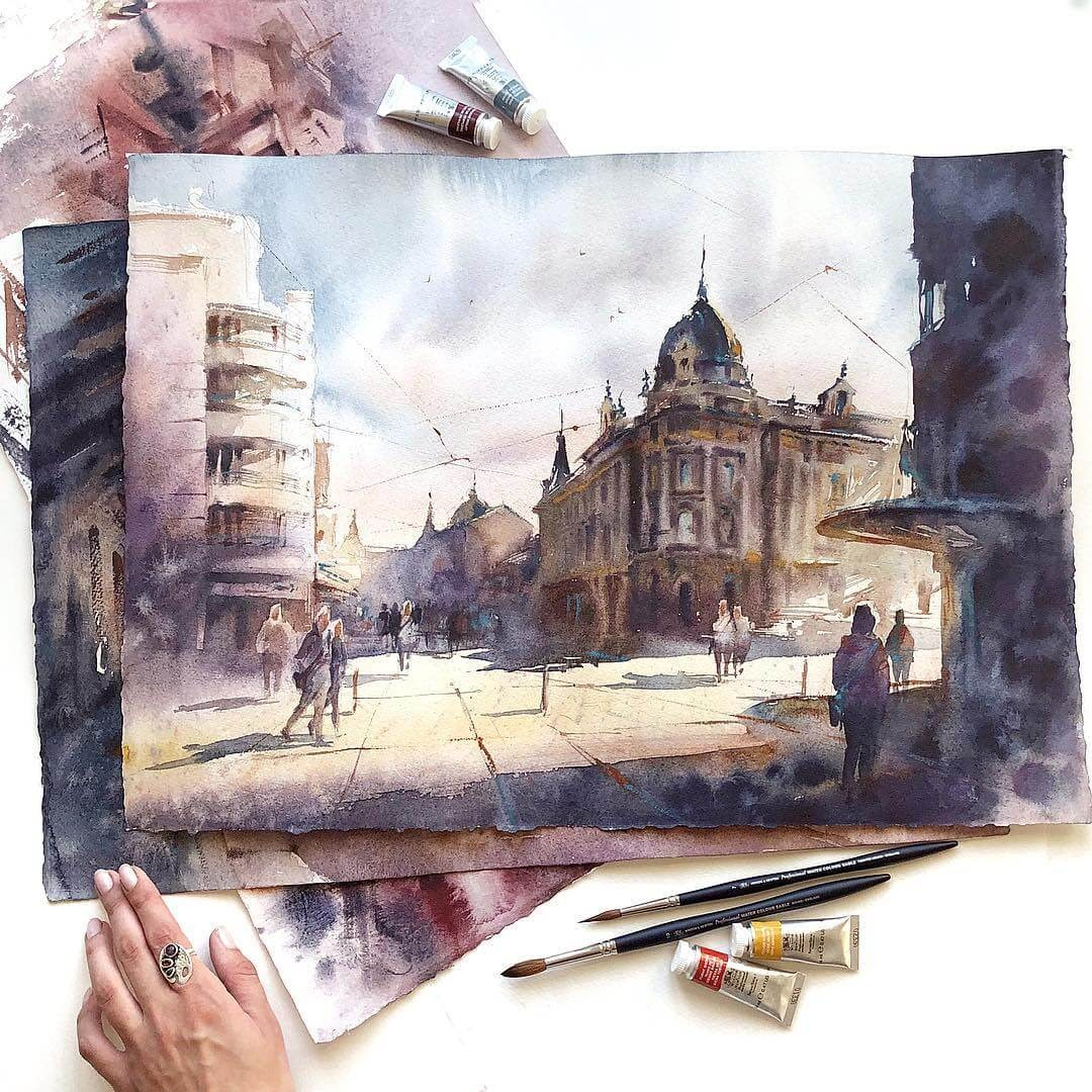 04-Lyublyana-Anastasia-Kústova-Architectural-Watercolor-Paintings-En-Plein-Air-www-designstack-co