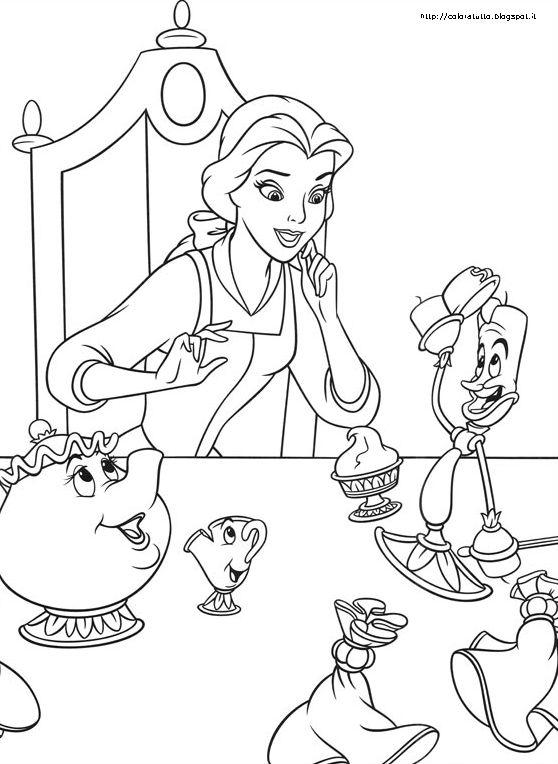La bella e la bestia disegno da colorare n 2 for La bella e la bestia immagini da stampare