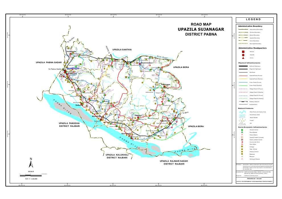 Sujanagar Upazila Road Map Pabna District Bangladesh