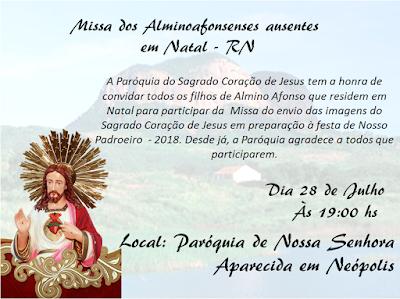 Paróquia de Almino Afonso divulga datas das missas em Mossoró e Natal para Alminoafonsenses ausentes