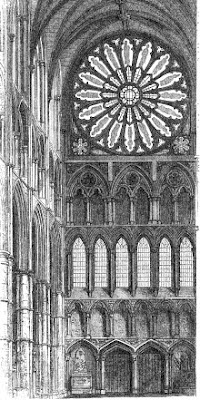 North end of transept in Westminster Abbey  from The Pictorial Handbook of London (1854)