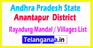 Rayadurg Mandal Villages Codes Anantapur District Andhra Pradesh State India