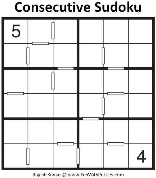Consecutive Sudoku Puzzle (Mini Sudoku Series #118)