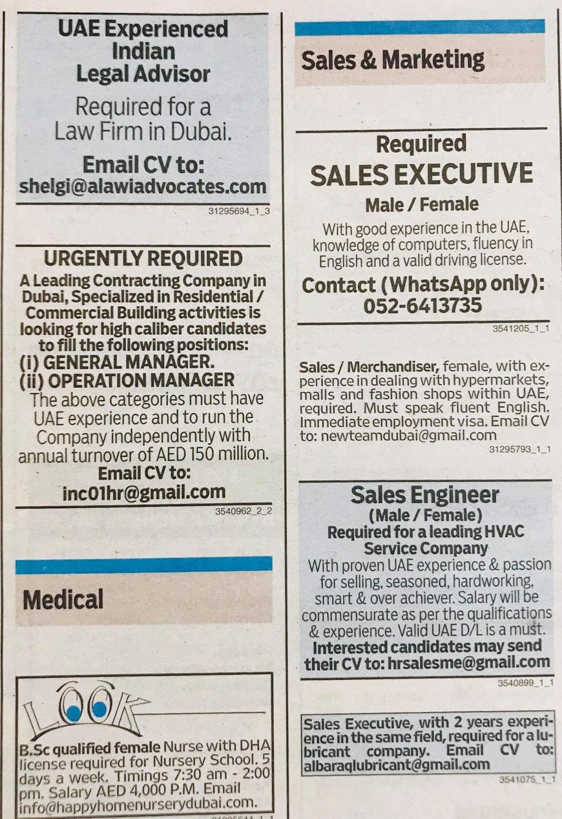 Required for Dubai Local Hiring Jobs Khaleej Times-UAE-1212934- Jobs