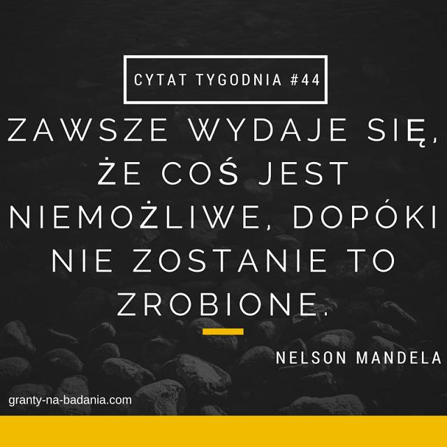 """""""Zawsze wydaje się, że coś jest niemożliwe, dopóki nie zostanie to zrobione."""" – Nelson Mandela."""