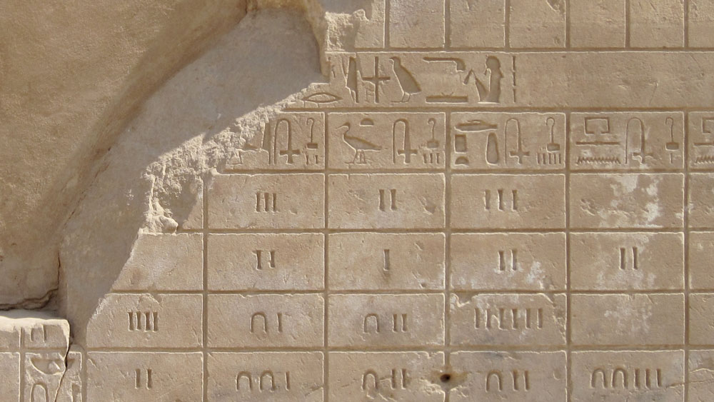Egyptiläisiä hieroglyfejä, joista osa esittää lukuja.