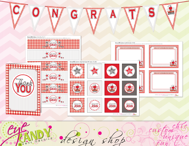 congrats banner, grad thank you cards, grad party, BBQ grad party