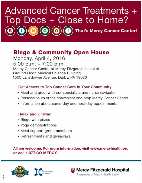 Mercy Fitz Cancer Center Open House & Bingo April 4, 2016
