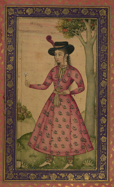 Shaykh Abbasi(?), Woman in a European Hat Holding a Flower