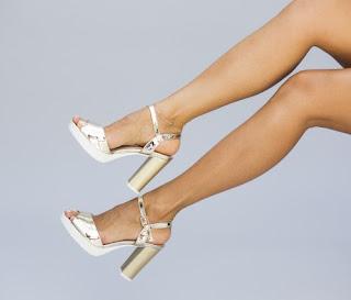 Sandale aurii de zi cu toc inalt gros elegante